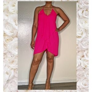 Olivaceous Drape Front Dress in Bright Rose